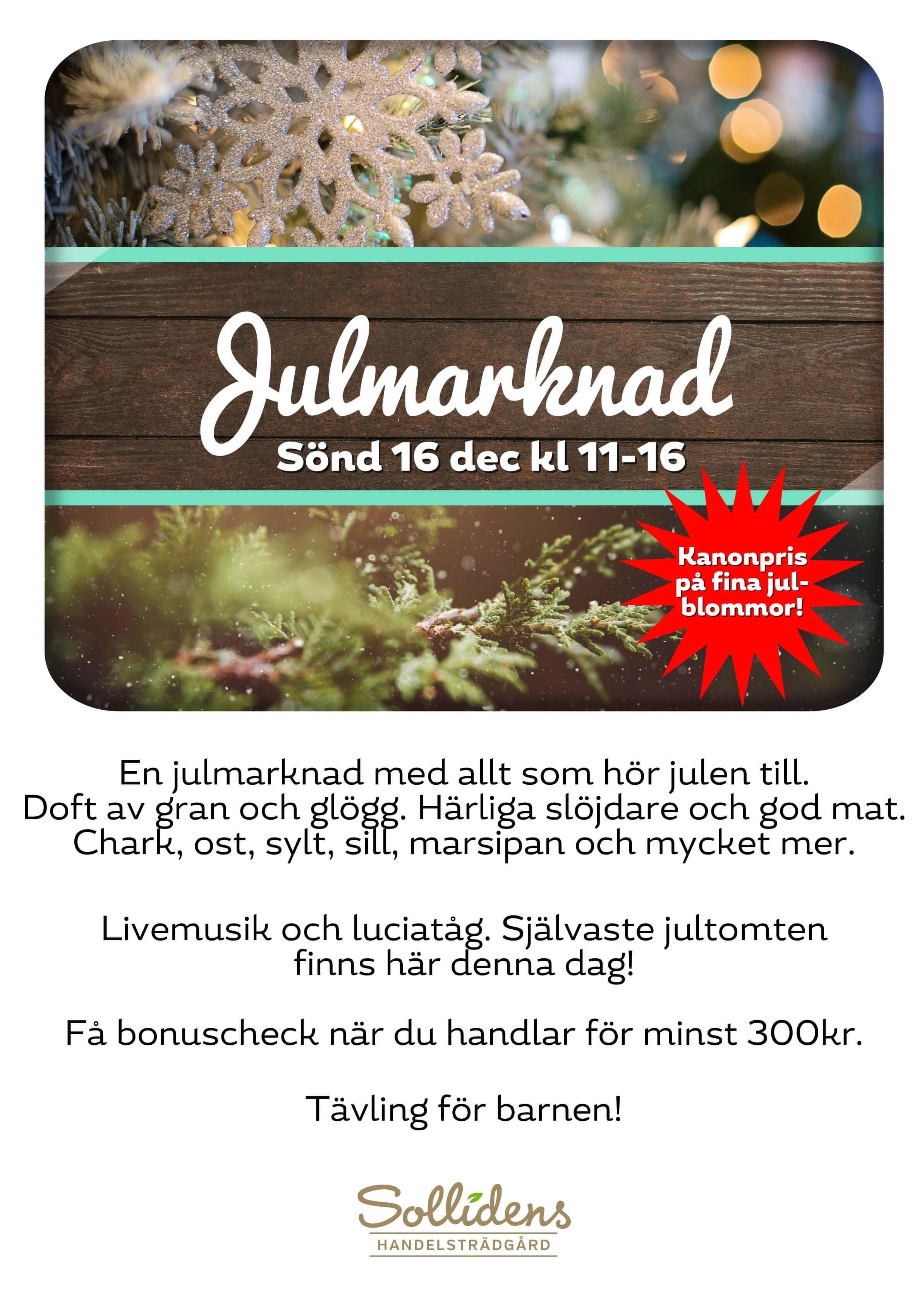 Julmarknad på Solliden 2018 Inbjudan med information.