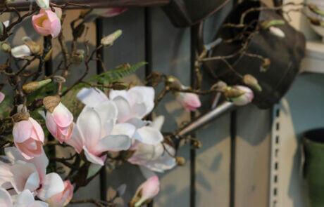 Snyggt och lättskött med sidenblommor. Här ser vi vackra magnolia i ljust ljusrosa.