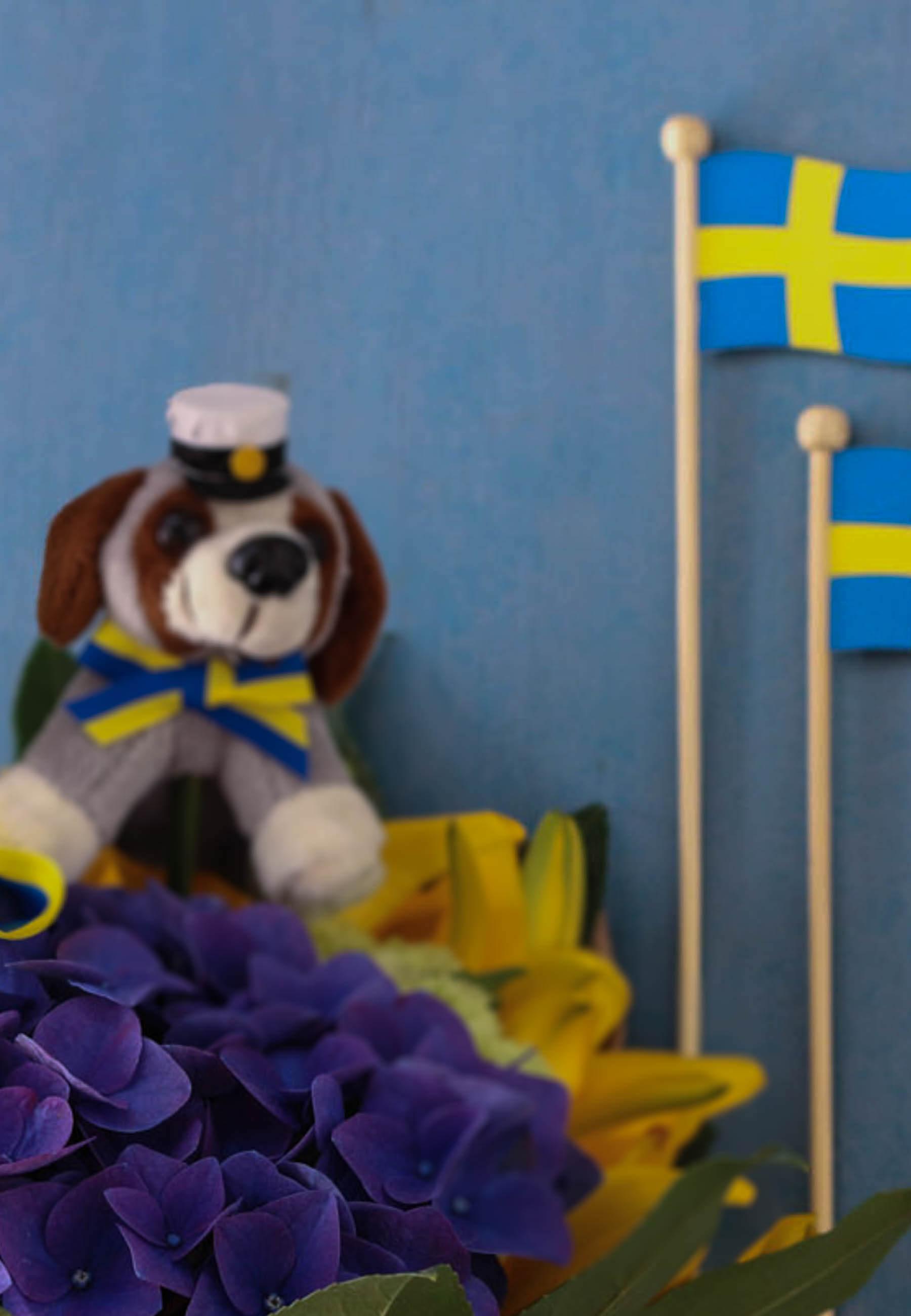 Fira studenten med fina buketter, maskotar och flaggor! Blommor i blått och gult.